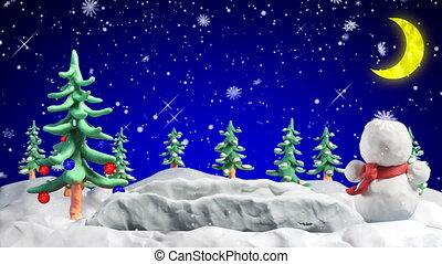 last 10 seconds is seamless loop. merry christmas clay greetings loopable scene. Progressive scan