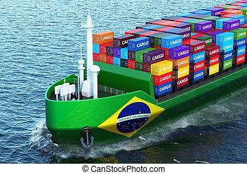 last, afsejlingen, gengivelse, havet, brasiliansk, fragtskib, skib, beholdere, 3