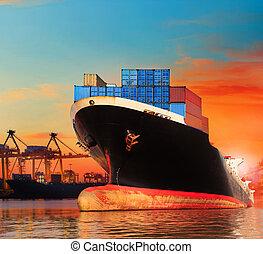 last, anvendelse, firma, industri, kommerciel, bic, import, fartøj, skib, kajen, havn, transport
