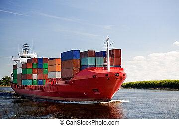 last beholder, skib, på, flod