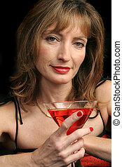 Last Call - A beautiful woman a bit tipsy enjoying her last...