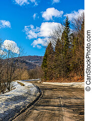 last days of winter in countryside landscape - spring has...