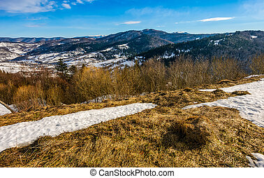 last days of winter in mountain landscape - spring has come....