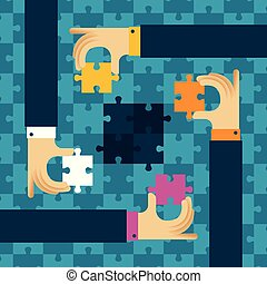 Last detail teamwork vector concept with jigsaw puzzle in flat style