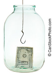 last dollar and fishhook in glass jar