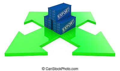 last, eksporter, beholdere