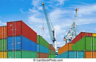 last, eller, beholder, kraner, forsendelse, havn, eksporter...