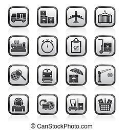 last, forsendelse, og, logistic, iconerne