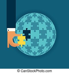 Last global detail vector concept with jigsaw puzzle in flat style