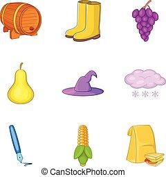 Last harvest icons set, cartoon style