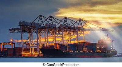 last, lastning, beholder terminal, fartøj, havn