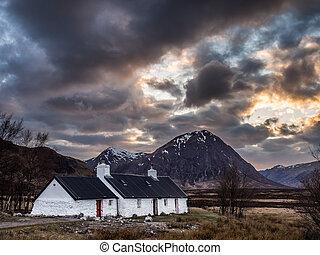 Last Light on Blackrock Cottage, Glencoe