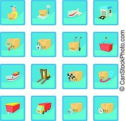 last, logistik, ikon, blå, app