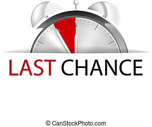 Last minute - Alarm clock five to twelve with sign last ...