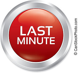 Last minute button. Vector sale red round sticker.