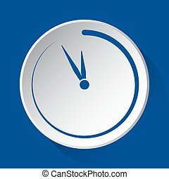 last minute clock, blue icon on white button