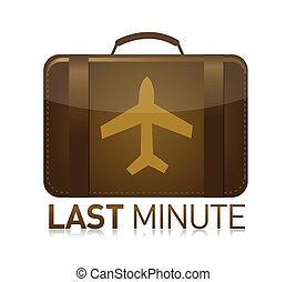 last minute luggage airplane illustration design over white