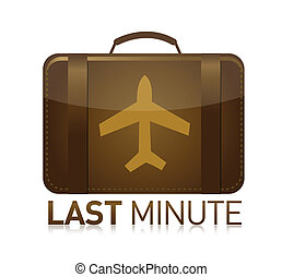last minute luggage airplane illustration design over white