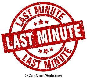 last minute round red grunge stamp