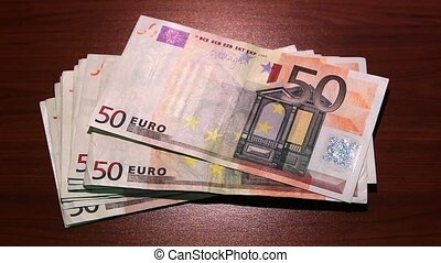 Last money disappears. 50 euro banknotes. - Last money...