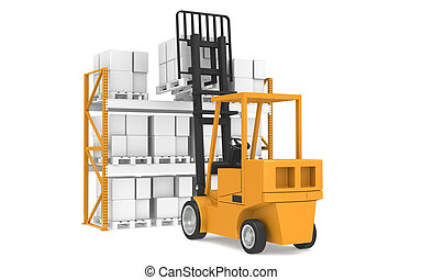Last Pallet. Forklift truck lifting a pallet. Part Of Warehouse and Logistics Series.