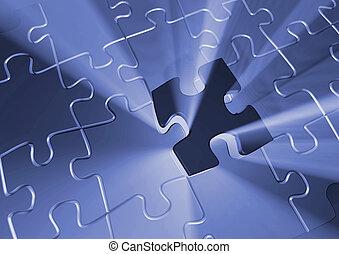 Last piece - Puzzle pieces - 3d render