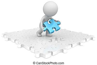 Last piece. - The dude putting last puzzle blue piece in...