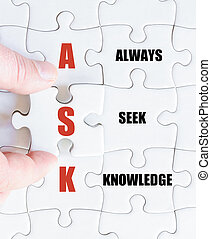 Last puzzle piece with Business Acronym ASK