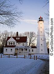 Last rays of sun on North Point Lighthouse