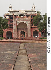 Islamic Tomb. Dry water channel leading to the chamber housing the tomb of the Mughal Emperor Akbar at Sikandra on the outskirts of Agra, Uttar Pradesh, India.