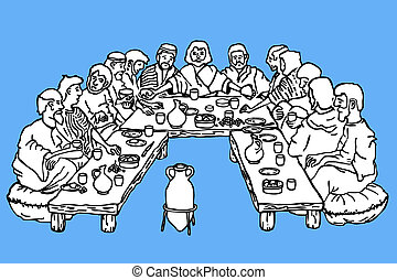 Black and white outline drawing of the last supper on a blue background