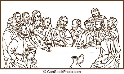 illustration of the last supper of Jesus Christ the savior and his disciples