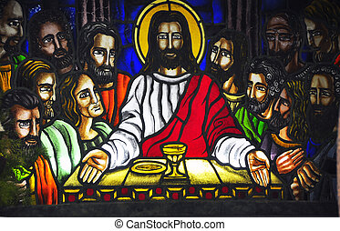 Last Supper - A stained glass of The Last Supper inside a...