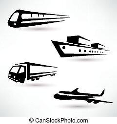 last, transport, vektor, iconerne, sæt, logistik, begreb