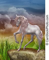 last unicorn - 3d render of a beautiful unicorn