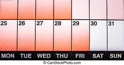 Last week of the month as shown in calendar