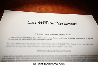 Last Will and Testament document on a desk