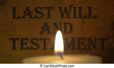 Last will and testament lit by candle