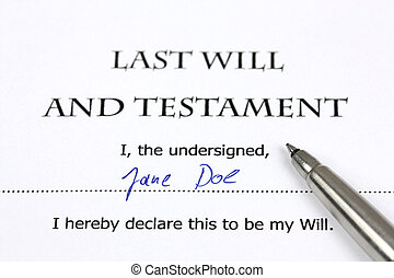 Last Will and Testament with a fictional name and signature. Document and pen.
