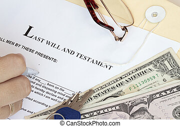 Last Will and Testament with dollars and hand ready for fill-up the form.