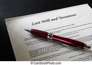 Last Will legal document and pen