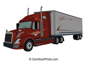 lastare, lastbil, vektor, halv-, illustration