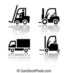 lastare, sätta, -, transport, ikonen