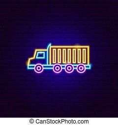lastbil, 18, underteckna, neon, wheeler