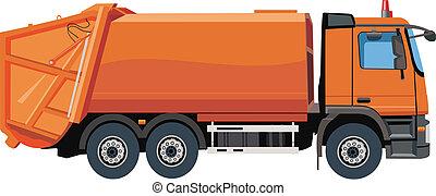 lastbil, avskräde