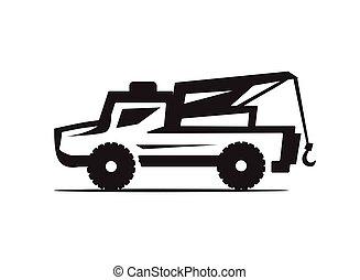 lastbil, bogsera, ikon