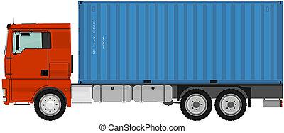 lastbil, container.