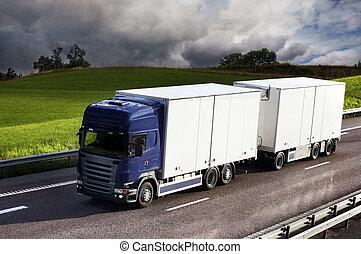 lastbil, country-road, kørende