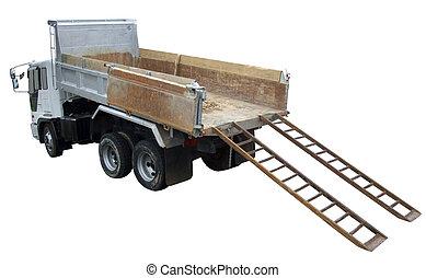 lastbil, dumpa, baksidaen beskådar