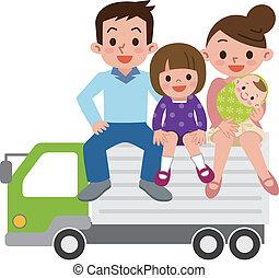 lastbil, familie, glade